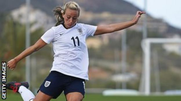 Toni Duggan of England in action during the friendly match between England and Norway at la Manga Club on January 17, 2014 in La Manga, Spain.