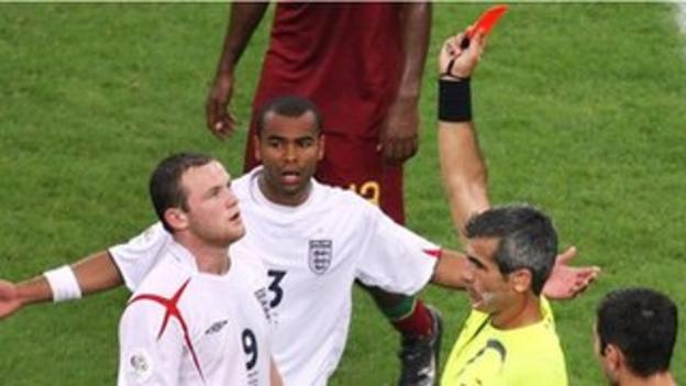 Wayne Rooney receives a red card for England against Portugal