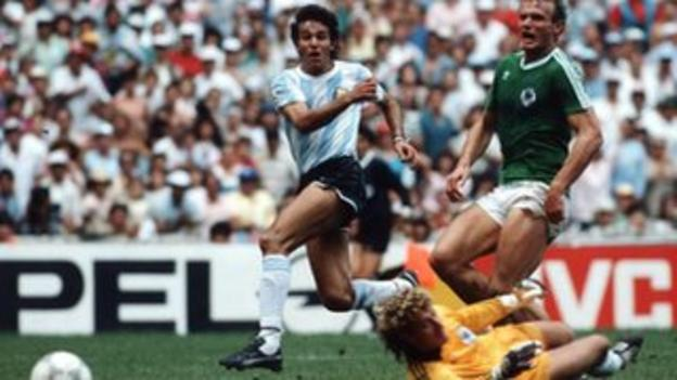 Jorge Burruchaga scores for Argentina against West Germany