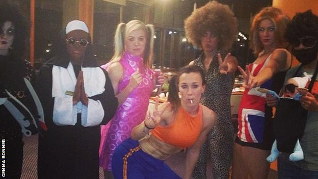 Toni Duggan, second left, with team-mates at the fancy dress party