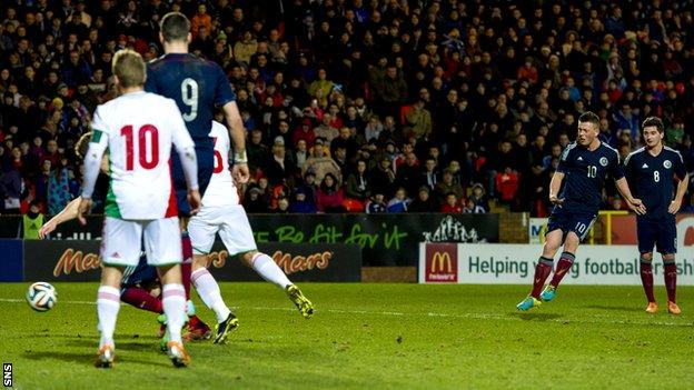 Callum McGregor scores for Scotland Under-21s against Hungary Under-21s