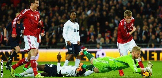 Kasper Schmeichel made a series of fine stops to deny England