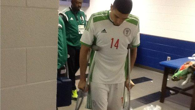 Nigeria defender Leon Balogun on crutches