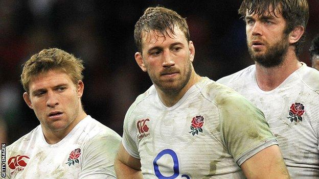 Tom Youngs, Chris Robshaw and Geoff Parling look disconsolate after losing to Wales in 2013