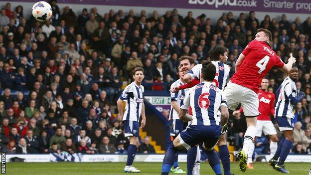 Man Utd defender Phil Jones heads his side into the lead at West Brom
