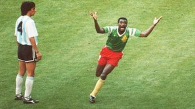 Francois Omam-Biyik scores for Cameroon against Argentina