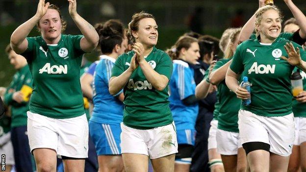 Ireland celebrate their 39-0 win over Italy in Dublin