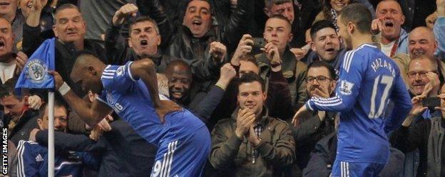 Samuel Eto'o celebrates after putting Chelsea ahead