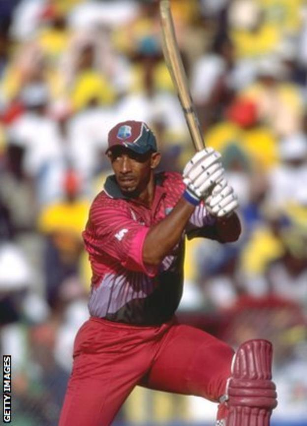 Phil Simmons plays a shot for the West Indies against Australia in 1999