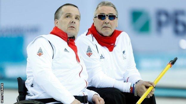 GB wheelchair curlers Bob McPherson and Jim Gault