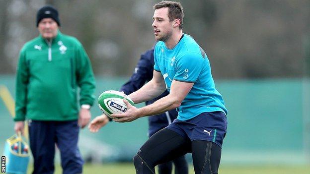 Tommy Bowe at Ireland training last week