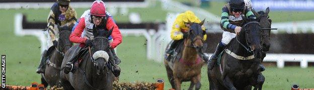 Sam Twiston-Davies heads the field on the only other occasion when he has ridden Big Buck's