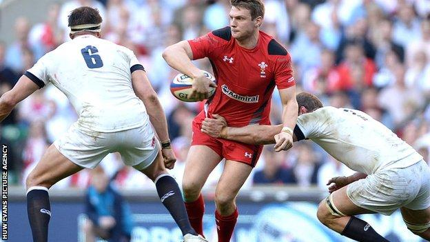 Dan Biggar in action for Wales against England after coming on as a second half substitute at Twickenham