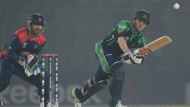 Ireland captain William Porterfield plays a shot against Nepal