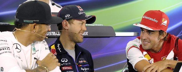 Lewis Hamilton, Sebastian Vettel and Fernando Alonso
