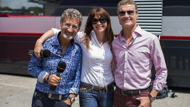 Eddie Jordan, Suzi Perry and David Coulthard