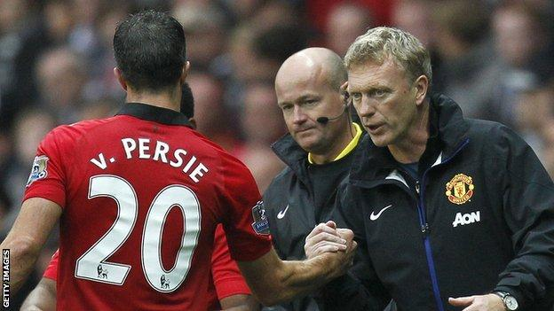 Manchester United's Robin van Persie (left) and David Moyes