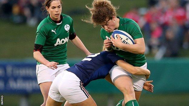 France's Majorie Mayans tackles Irish opponent Jenny Murphy