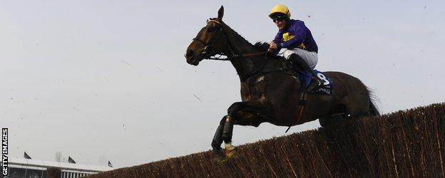 Davy Russell successfully takes Lord Windermere over another fence on the way to Gold Cup glory.