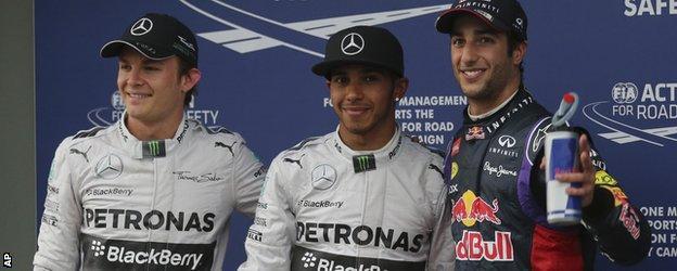 Nico Rosberg, Lewis Hamilton and Daniel Ricciardo