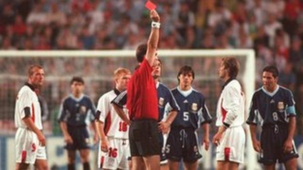 David Beckham is sent off for England against Argentina
