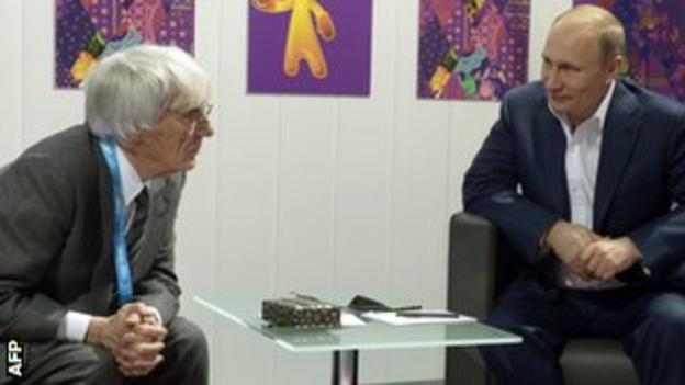 Bernie Ecclestone met Russia president Vladimir Putin in Sochi on 8 March