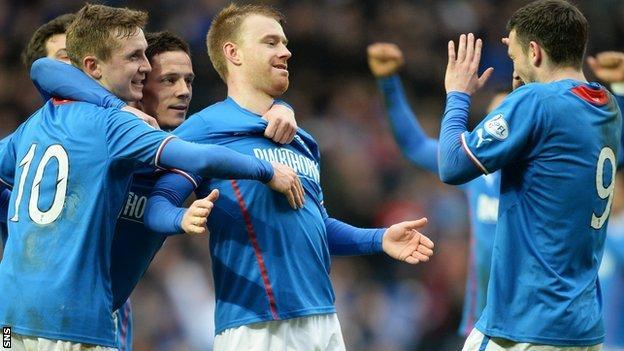 Stevie Smith celebrates his goal against Dunfermline
