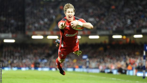 Scarlets full-back Liam Williams crosses for his first international try to give Wales the lead over Scotland during the opening quarter at the Millennium Stadium.