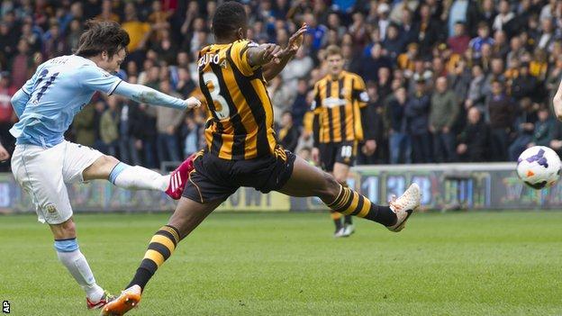 David Silva opens the scoring for Manchester City at Hull