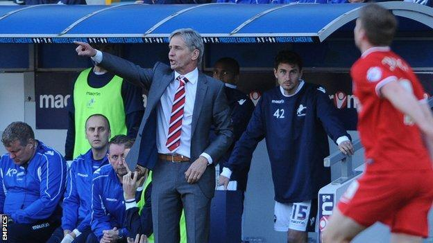 Charlton manager Jose Riga during the match at Millwall