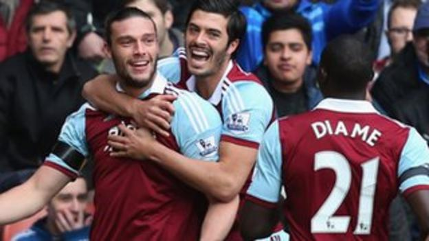 Andy Carroll celebrates his opener at Stoke