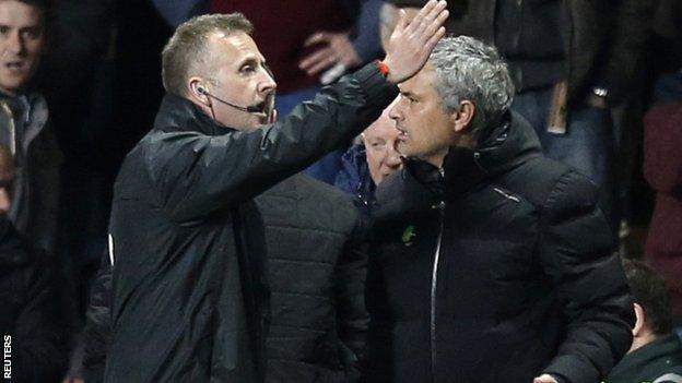 Jose Mourinho is sent off
