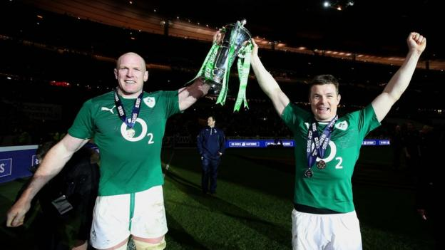 Irish skipper Paul O'Connell on the pitch after the match with man-of-the-moment Brian O'Driscoll