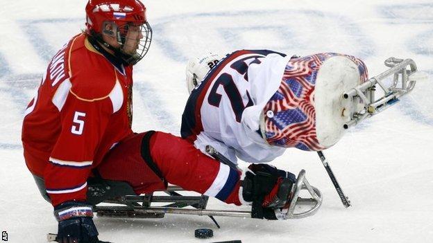 Sledge hockey action