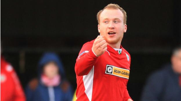 Liam Boyce scored his 22nd goal of the season to help maintain Cliftonville's title challenge