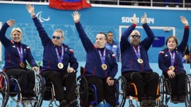GB wheelchair curlers celebrate their bronze medals