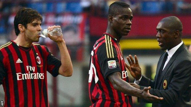 Mario Balotelli, Kaka and Clarence Seedorf for AC Milan