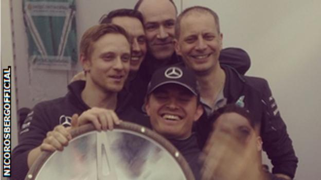 Nico Rosberg shares his victory in Australia with the Mercedes team