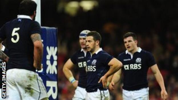 Scotland's Greig Laidlaw and his team-mates in Cardiff