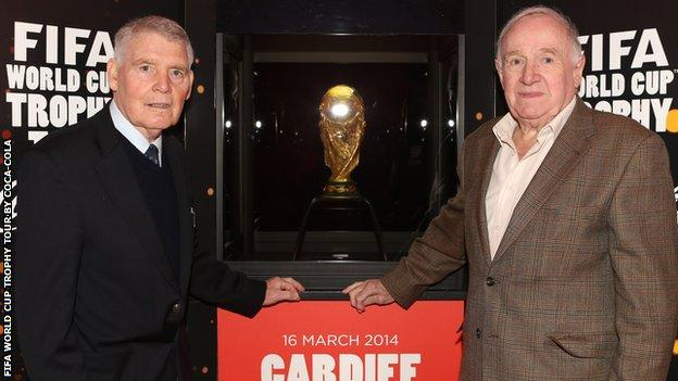 Colin Baker and Terry Medwin with the FIFA World Cup in Cardiff