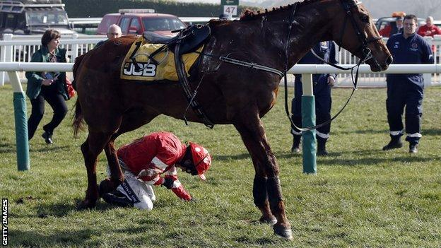 Ruby Walsh broke his arm and dislocated a shoulder after falling on Abbyssial at Cheltenham