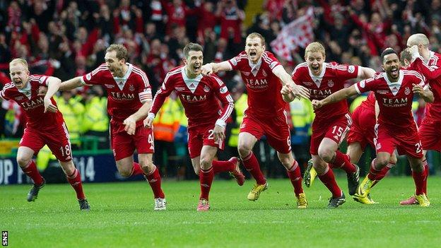 Aberdeen players celebrate following their penalty shoot-out win over Inverness