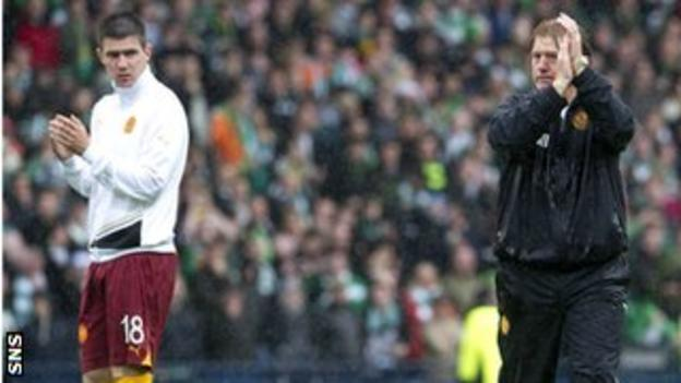Stuart McCall applauds the Motherwell fans following the 3-0 defeat by Celtic in the 2011 Scottish Cup final