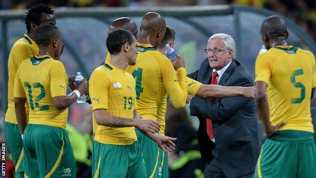 South Africa players and coach Gordon Igesund