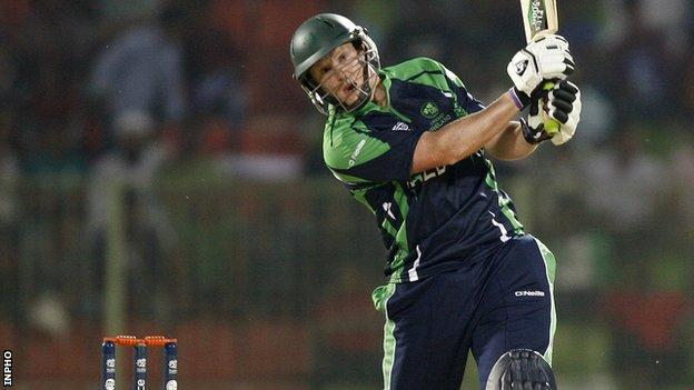 Kevin O'Brien in action in Monday's narrow win over Zimbabwe