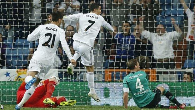Real Madrid's Cristiano Ronaldo scores