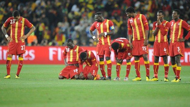 Ghana's players look rejected during the 2010 World Cup quarter-finals