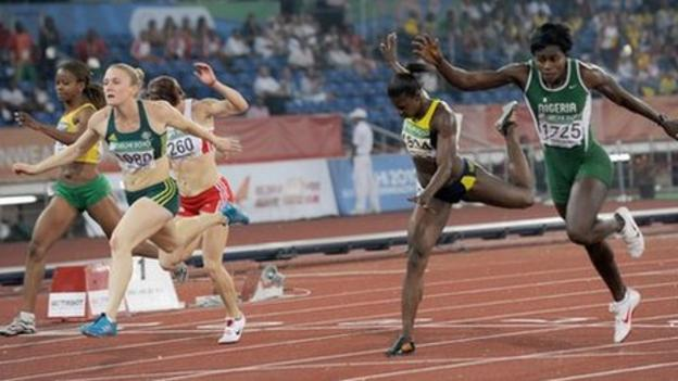 Natasha Mayers (C) won the 100m after Sally Pearson (L) was disqualified for a false start and Osayemi Oludamola (R) was suspended for a positive drugs test.