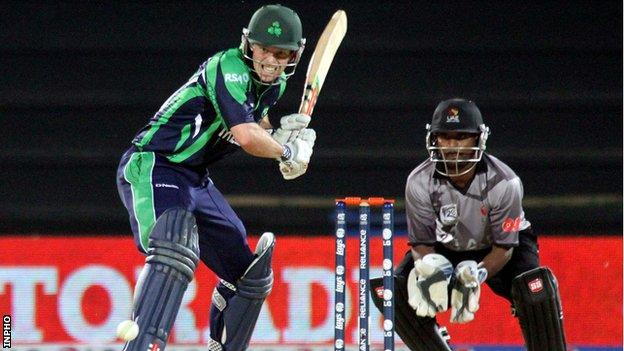 Ed Joyce batting against UAE