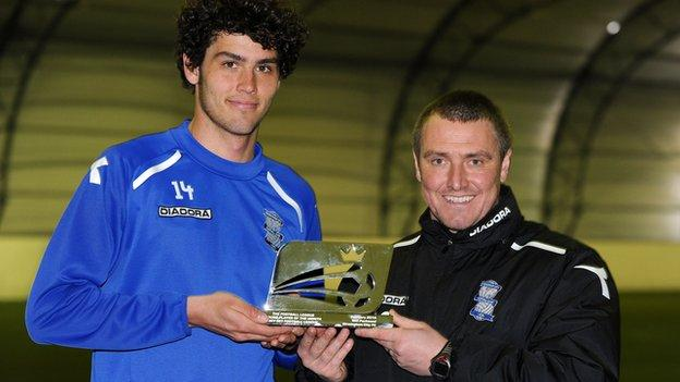 Blues centre-half Will Packwood and manager Lee Clark
